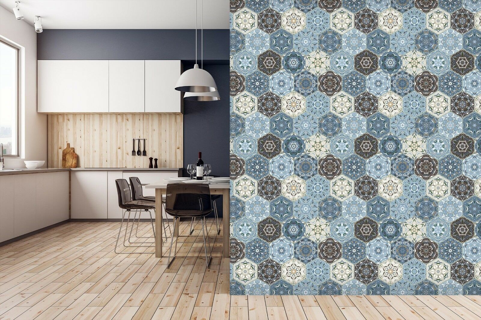 3D Cute Blau Flower 921 Texture Tiles Marble Wall Paper Decal Wallpaper Mural AJ