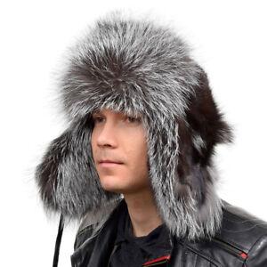 4c80e93e0b8564 Genuine Men's Silver Fox Fur Ushanka Hat IV Real Fur Warm Winter ...