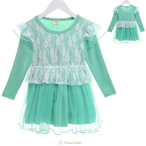 Botique Cute Green Lace Dress Quality Design Child Comfortable Girl Kid