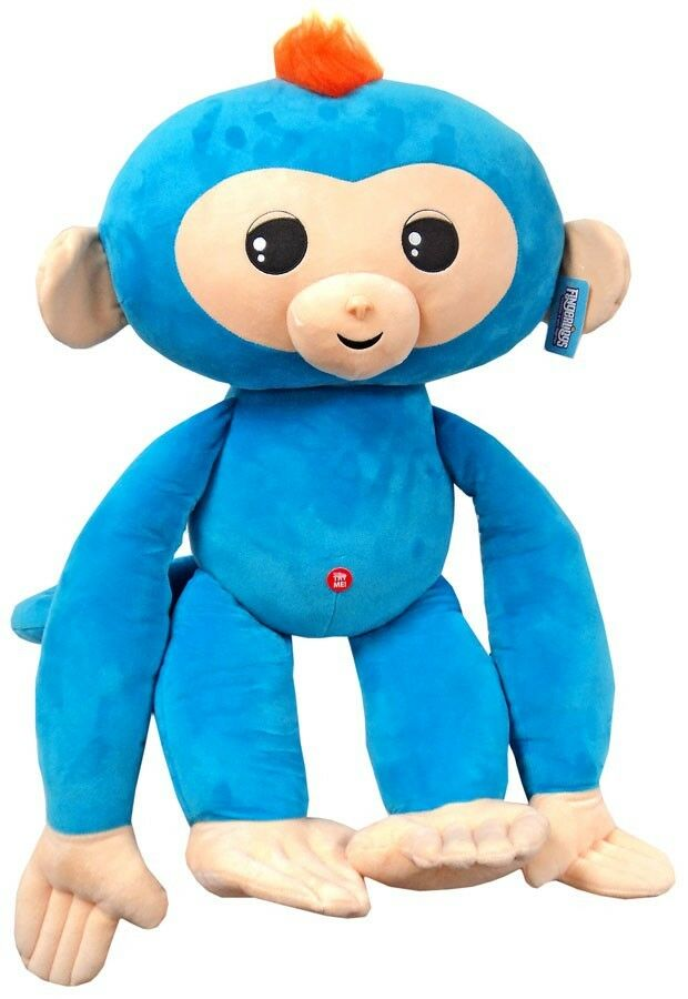 Fingerlings Baby Monkey blu with arancia Hair 27-Inch Jumbo Plush with Sound