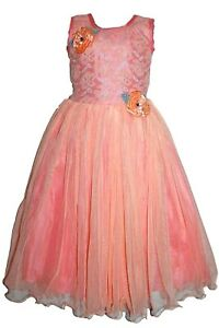 Girls-Party-Dress-Peach-Frock-Wedding-Bridal-Birthday-Outfit-age-Age-6-to-Age-7