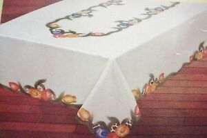 FANCO tablecloth 60x90 painted and stiched multicolor tulips, CREAM, new [20]