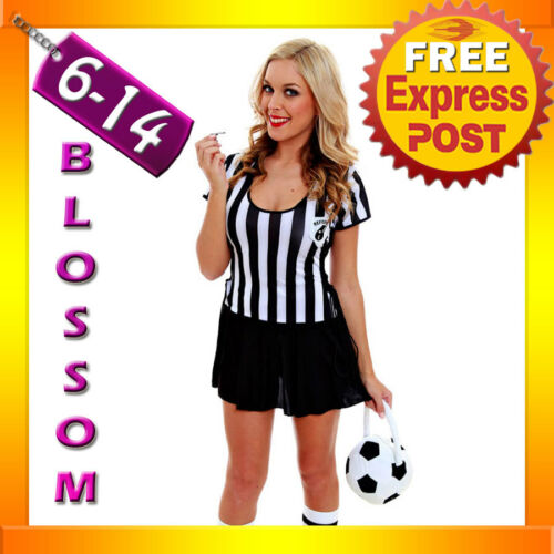 F66 Ladies Sports Referee Umpire Football Soccer Fancy Dress Costume Whistle