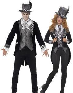 La imagen se está cargando Lujo-Oscuro-Traje-Sombrerero-Loco-Hombre-Mujer- Halloween- ff745c0903fe