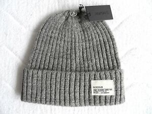 Nixon-Kanadas-Wolle-Watch-Cap-Heather-Grey-Rib-Beanie-Toque-NEU-tags-Herren-Hut