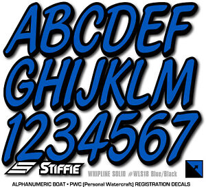 Whipline Solid Purple//Black 3 Alpha-Numeric Registration Identification Numbers Stickers Decals for Boats /& Personal Watercraft