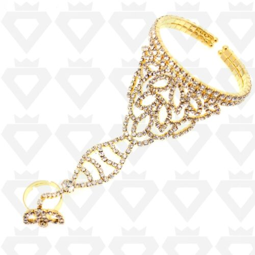 CRYSTAL DIAMANTE GLASS PANJA BANGLE SLAVE STRETCH FRIENDSHIP BRACELET RING