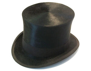 HENRY-HEATH-LTD-HOLT-RENFREW-Victorian-Silk-Plush-Top-Hat-Circa-1890