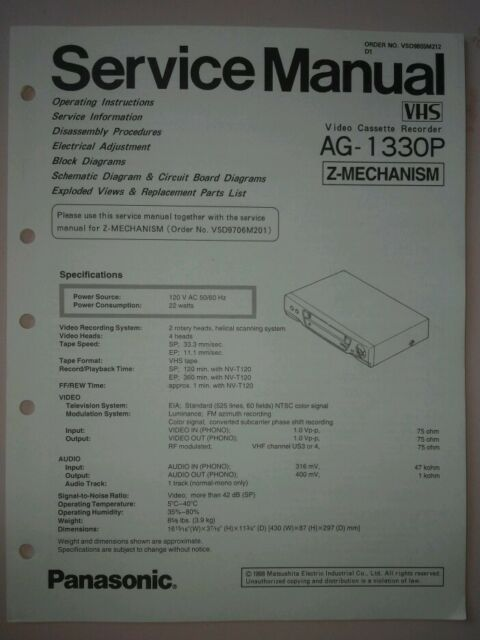 Panasonic Service Manual Vcr Ag 1330p Z Mechanism Ebay