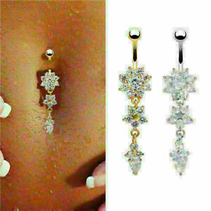 Beauty-Crystal-CZ-Stone-Flower-Navel-Belly-Button-Ring-Bar-Body-Piercing-Jewelry
