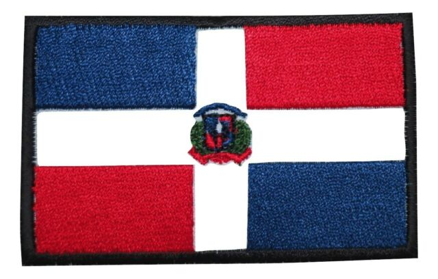 """DOMINICAN REPUBLIC FLAG Iron On Patch 3 1//2/"""""""