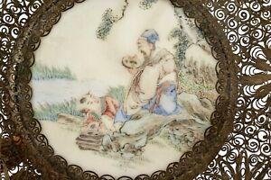 1930's Chinese Brass Filigree Hand Painted Marble Plate Scholar NOT PORCELAIN