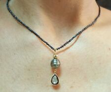 Polki rose cut Diamond black Tahitian and seed Pearl 14k gold silver necklace