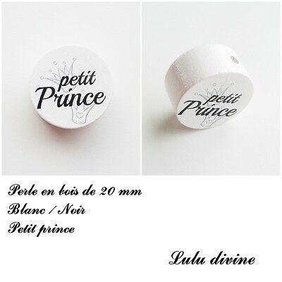 Noir Petite princesse Perle en bois de 20 mm Perle plate