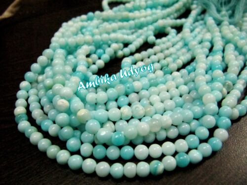 Natural Blue Peruvian Opal Round Plain Smooth Beads 4-5mm Strand 13.5inches Long