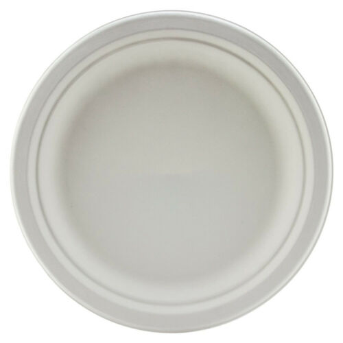Bagasse Round Plates 9inch 23cm Pack of 50 Sugarcane Disposable Plates