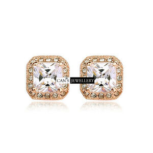 Details about 18K GP with Princess Cut SWAROVSKI ELEMENTS CRYSTAL Square  Stud Earrings E018