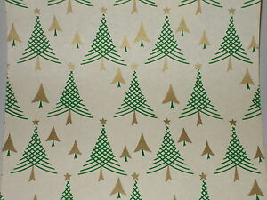 VTG-1940-WW2-ERA-CHRISTMAS-TREE-WRAPPING-PAPER-GIFT-WRAP-3-YARDS