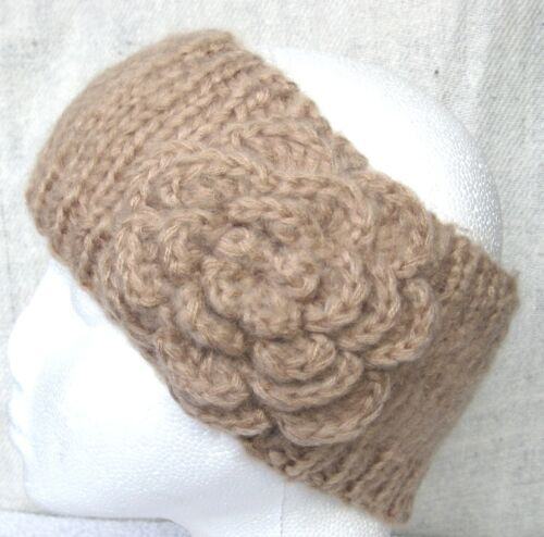 Lana di Cammello Cotone HAND Knitted Ear Warmer Cappello Cerchietto