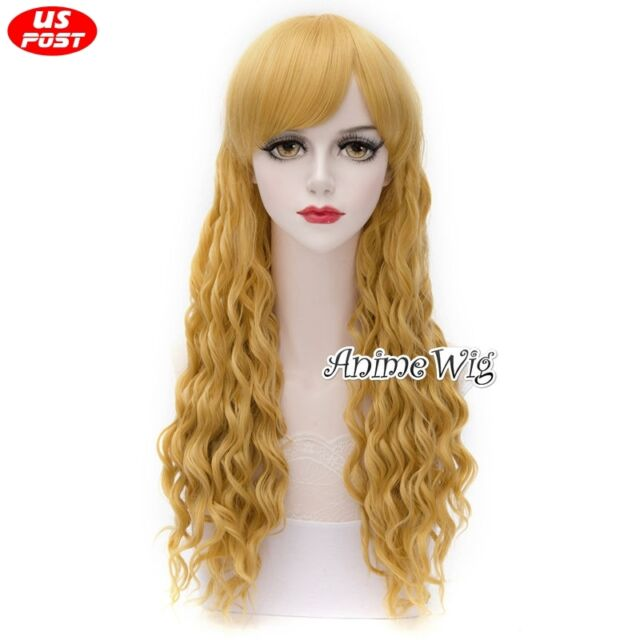 Lolita Women Party Blonde 65CM Long Curly Synthetic Cosplay Hair Wig + Wig Cap