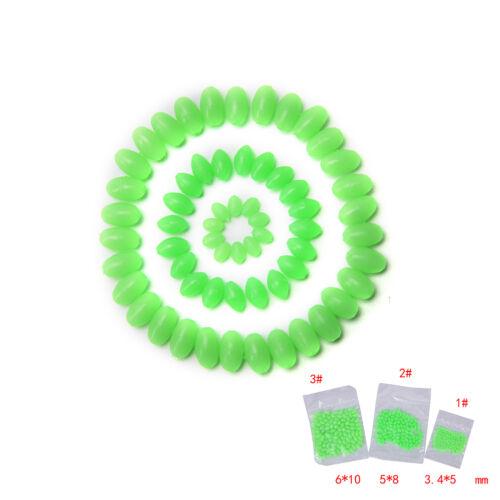 100XGlow Beads Rigs Makings Soft Luminous Fishing Bead Ovals Shaped 5//8//10mm 2/_7