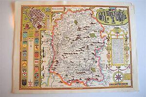 VINTAGE REPLICA John velocità Mappa di Wiltshire circa. 1610 STONE Henge