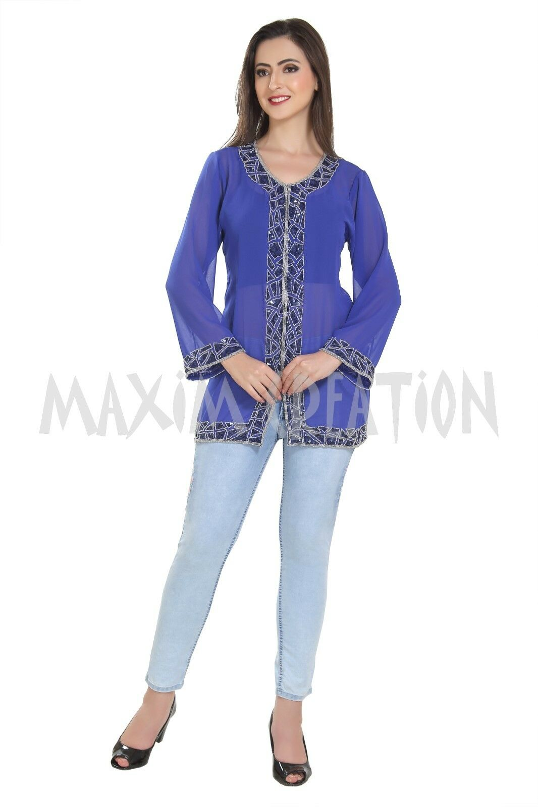 Bollywood Party Wear Kurti Soft Comfortable Hand Embroidered Top For Ladies 7205
