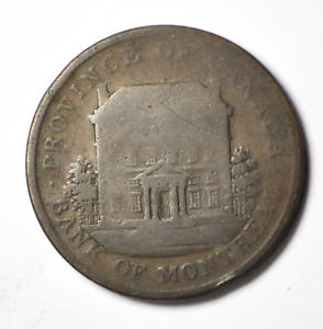 1842-Canada-Lower-Canada-2-Sous-One-Penny-Large-Cent-Bank-Token-Tn19-Rare