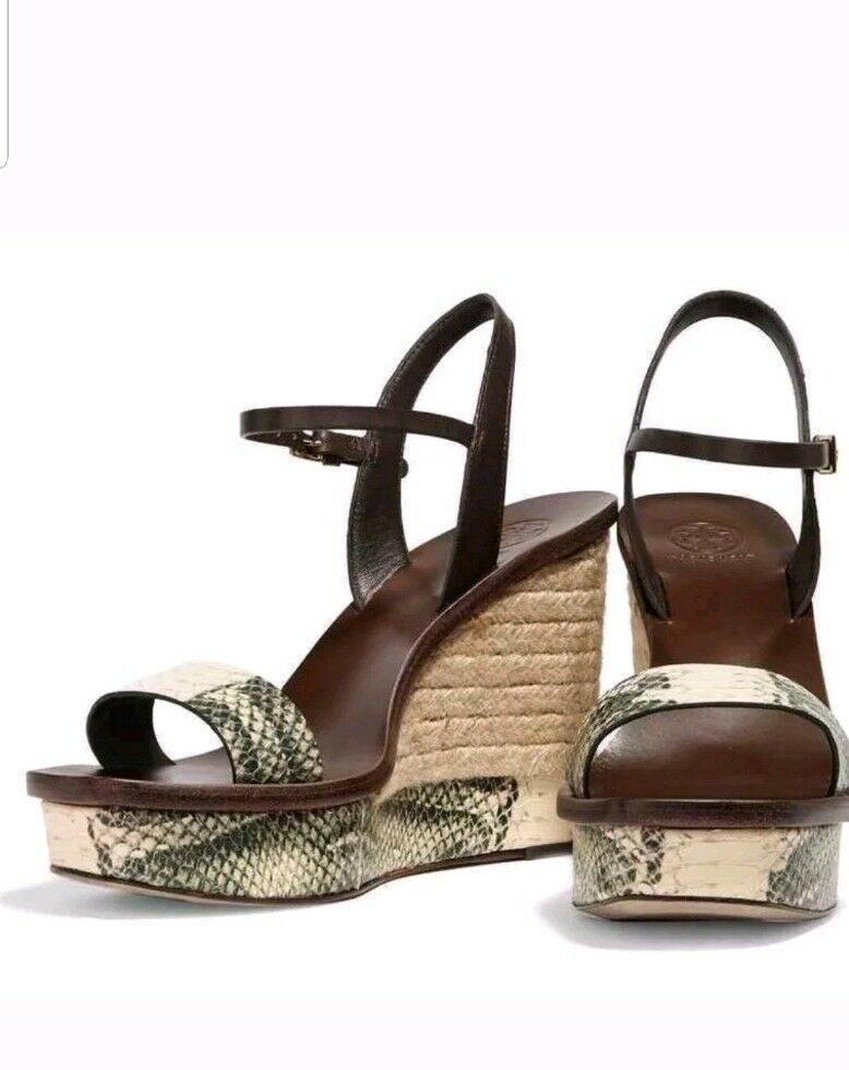 Tory Burch Malaga Snakeskin Single Ankle Strap Brown Wedge Sz 7.5 M