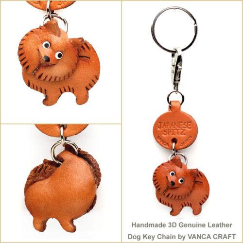 Japanese Spitz Handmade 3D Leather Dog Keychain *VANCA* Made in Japan #56738