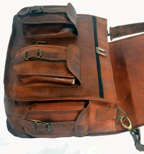 Bag Leather Goat Laptop Messenger Men Briefcase Shoulder Vintage Brown New Real