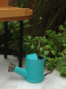 Miniature Dollhouse FAIRY GARDEN Accessories ~ Aqua Metal Fiesta Watering Can