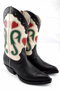 WOMENS-MONTANA-COWBOY-BOOTS-RED-HEART-INLAYS-BLACK-WESTERN-COWGIRL-RODEO-5-B