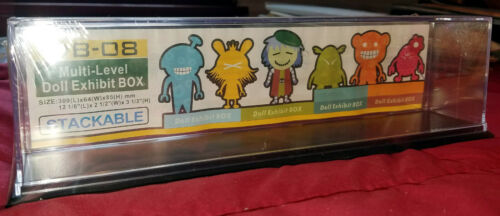 """4 Dolls cars 12L/"""" x 2.5/""""W x 3.33/""""H Exhibit Cases - Stackable Clear Acrylic"""
