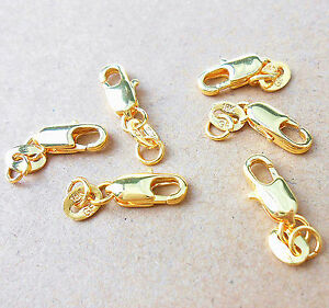 Wholesale-DIY-10PCS-Jewelry-Findings-18K-Yellow-Gold-Filled-GF-Lobster-Clasps