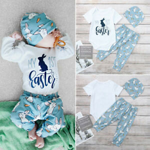 Rabbit Ears Hat Newborn Baby Girls Boys Easter Outfits My 1st Easter Romper Bunny Pants