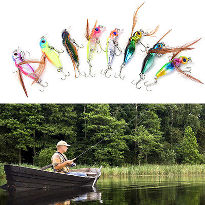 8 Bee Insect Fishing Lures Bass Killer Cicada CrankBait Tackle Hook 4.5cm//3.5g