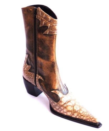 In 39 Marrone Colore Donna Tronchetti Texani Pelle Stivaletti Stivali xwA8qOI6