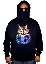 New Men/'s Neon Owl Painting Black Pullover Hoodie Wildlife Night Bird Tribal