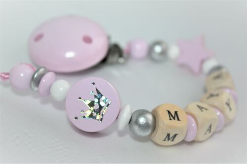 "Personalised Wooden dummy clip Chain /""Glitter Crown/"" Strap Baby Present"