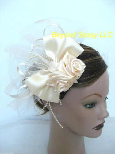 Wedding Bridal First Communion Satin Rose Hair Bow Pouf Headpiece Comb Barrette