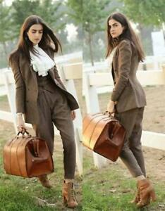 Women-039-s-Tweed-Herringbone-Suits-3-Pieces-Wool-Double-Breasted-Pantsuits-Business
