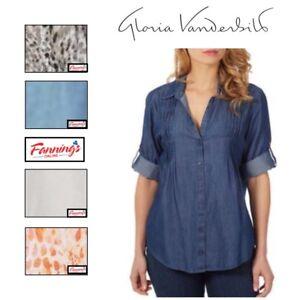 NEW-Ladies-039-Gloria-Vanderbilt-Giselle-Roll-Tab-Sleeve-Blouse-VARIETY-A44
