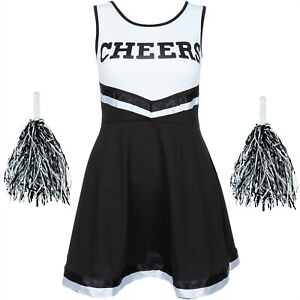 BLACK HALLOWEEN CHEERLEADER FANCY DRESS HIGH SCHOOL UNIFORM COSTUME POM POMS