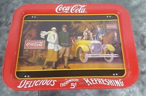 Details about 1920's Touring Car Coca-Cola Metal TV Lap Tray 1987