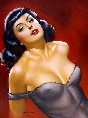 1940s Pin-Up Girl Miss Flying Saucer Picture Poster Print Vintage Art Pin Up