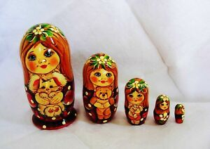 Matroschka-Steckpuppe-034-Spielzeug-Spielsachen-034-5er-Schachtelpuppe-15-cm-NEU