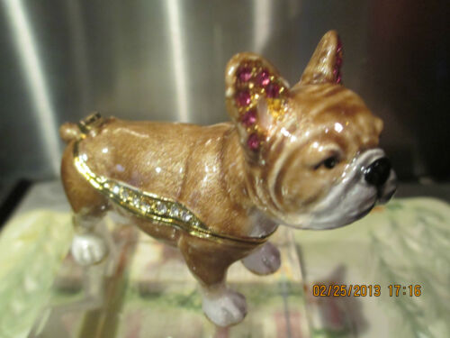 FRENCH BULL DOG ~  BEJEWELED ENAMEL  TRINKET BOX #3730