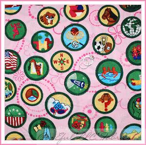 BonEful-Fabric-FQ-Cotton-Kaufman-Girl-Scout-4H-Badge-Cookie-Brown-Pink-Green-Dot