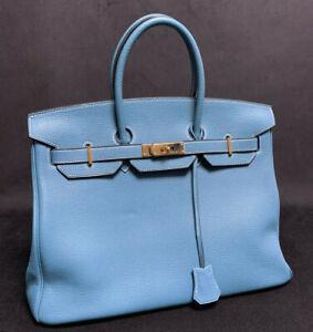Hermes Birkin 35 Blue Jean Togo Leather Bag